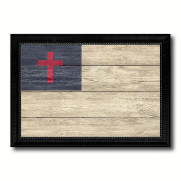 Kayso Christian Religious Military Flag Texture Canvas Print with Black Picture Frame Gift Ideas Home Decor Wall Art