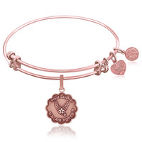 Expandable Bangle in Pink Tone Brass with Proud Daughter U.S. Air Force Symbol