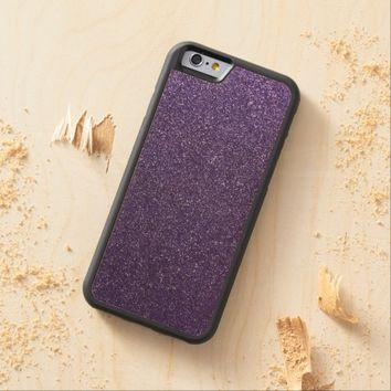 Cool Awesome Purple Glitter Carved® Maple iPhone 6 Bumper