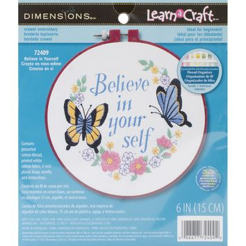"Believe In Yourself-Stitched In Thread Dimensions/Learn-A-Craft Crewel Embroidery Kit 6"" Round"