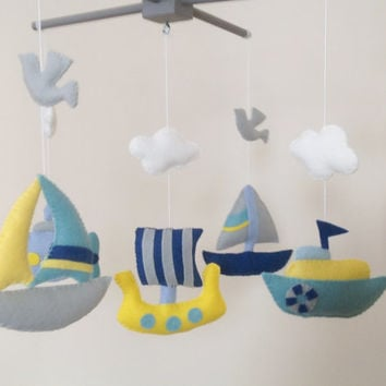Baby Mobile, Crib Baby Mobile, Nursery Decor, Transportation by sea, Baby Mobile, Felt mobile