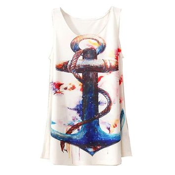 2015 New Style Fashion Vintage Spring Summer Women Sleeveless Graphic Print Digital Printing T Shirt Tee Blouse Vest Tank Tops