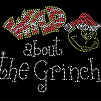 Rhinestone Iron-On Transfer - Wild About The Grinch - DIY Iron On Rhinestone Christmas Transfer