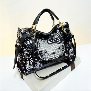 large leather hello kitty, teddy bear and monkey sequined handbags shoulder tote