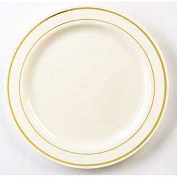 10 1/4 Inch Round Plastic Dinner Plates in Bone with Gold Band/Case of 120