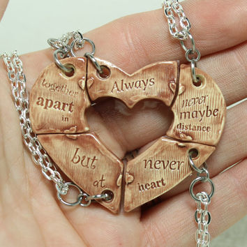 Friendship jewelry Heart puzzle pendants set of 5 Always together quote Maroon