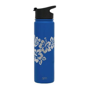 Premium Stainless Steel Water Bottle, Hibiscus Design, Extra Lid, 22oz (Twilight Blue)