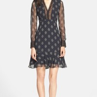 Women's Erdem Belted Print Silk Crepe Shirtdress with Ruffle Details,