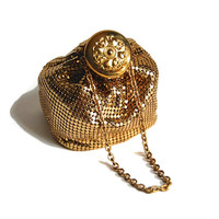 Whiting & Davis Gold Mesh Bag Accessories Bags and Purses Treats Art Deco LARGE GateTop Beggar's Bag Flapper Wristlet Gift for Her, 1930s