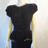 40s Black Dress / WWII / Sequins / Shoulder Pads / Belt Waist / Mid Length Skirt