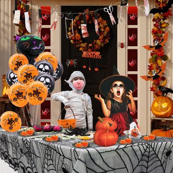 Home Halloween Party For Halloween Decoration Set Horror Props Spider Pumpkin Haunted Black Lace Tablecloth Decor Party Supplies