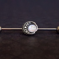 Vintage Boho Filigree Moon Opal Industrial Barbell (14G)