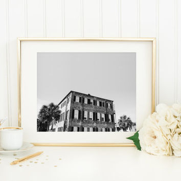 Charleston print, black and white photography, southern architecture, old brick building, travel photo, high contrast, wall art, home decor