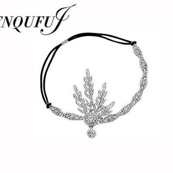 VONG2W 1920's  Great Gatsby Headband  Bridal Hair Accessories Wedding Tiaras And Crowns Inspired Leaf Medallion Headpiece