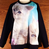 Awesome Animal Sweater Cats Shirt Teen Women Crow neck teen Fashion long Sleeve Jumper Winter cold Size M/L