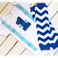 BOYS FIRST BIRTHDAY Outfit-Boys Birthday Bodysuit with Royal Blue 1, aqua suspenders with Royal Blue and white chevron crawlers