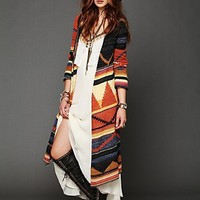 Free People Long Pattern Hooded Cardi