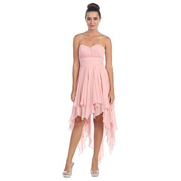 Multi Layer Chiffon Bridesmaid Dress Blush High Low Strapless