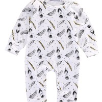 Newborn Baby Boy Clothes Baby Girls Boys Cotton Feather Romper Boys Long Sleeve One-piece Infantil Jumpsuit