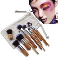New 11Pcs Wooden Handle Smooth Makeup Face Foundation Eyeshadow Cosmetic Brush Set