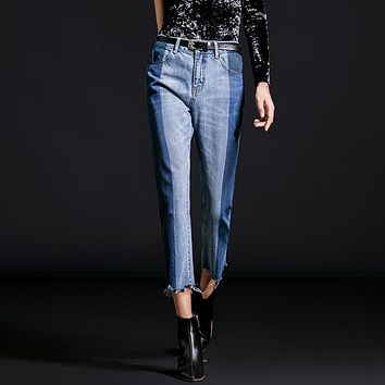 Fashion !! Women Patchwork Jeans With Side Split Hem Mixed Denim Piecing Pancelled Ankle Length Pants Jean