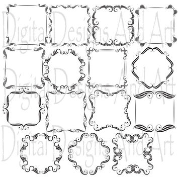 Square wedding frames, Wedding borders, Wedding clipart, Digital clip Art Frames, Calligraphy Clip Art, Victorian Design Clip Art,