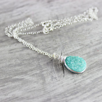 Light Turquoise Necklace, Druzy Quartz Necklace, Drusy Gemstone Necklace, Green Pendant Necklace, Teardrop Pendant Necklace, Sterling Silver