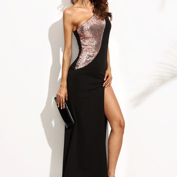 Black Gold Sequins Sleeveless Dress (FREE SHIPPING & FREE RETURNS)