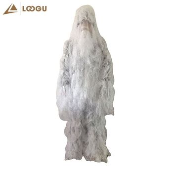 Snow White Tactical Camouflage Ghillie Suit Kit  Camo Military Durable Sniper for Winter Traning Bowhunt Hunting Birding clothes