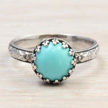 Sterling silver turquoise ring, 8 mm Arizona turquoise in a vintage style crown princess setting on a 3 mm floral band, December birthstone