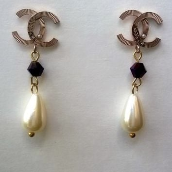 Lovely Designer Inspired Modern Faux Pearl & Crystal Earrings