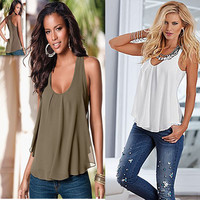New Fashion Women Lady Summer Vest Top  Blouse Sleeveless Brief White Casual Tank Tops