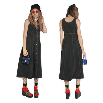 90s Black Denim Overall Dress - Long Black Dress -  90s Button Up Dress - Overalls - Goth Dress Grunge Dress - 90s Clothing Jean Dress