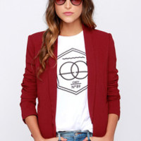 All In a Day's Work Wine Red Blazer