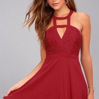All My Daydreams Wine Red Lace Skater Dress