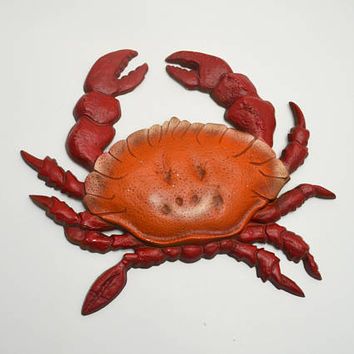 Vintage Crab Wall Hanging, Red Metal Crab, Coastal / Seaside / Beach Decor, Sexton 771, 1960s