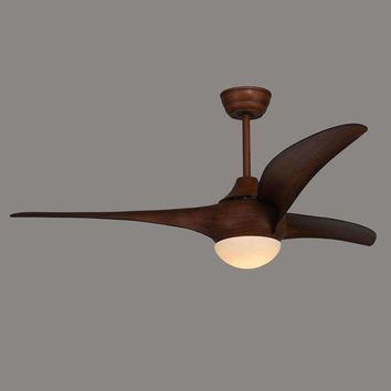 American Ceiling Fan Restaurant Dining Table Fan Light Wood Leaf Continental Retro With LED Bedroom Living Room Fan Chandelier