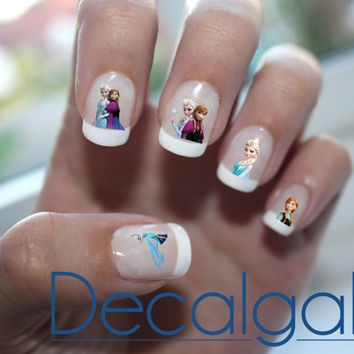 Frozen Elsa & Anna Disney Princess Nail Art Water Transfer Decal - Waterslide Paper - Water Slide Paper