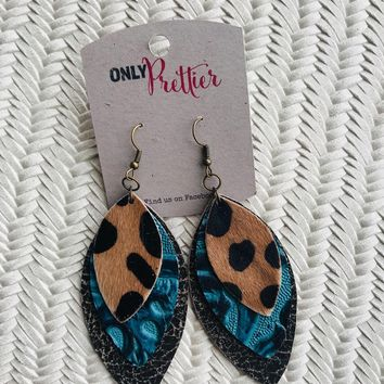 Layered Leather Earrings - Teal, Black and Animal Print
