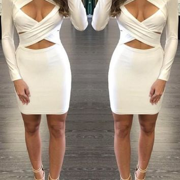Streetstyle  Casual White Cross Front Cut Out Long Sleeve Bodycon Mini Dress