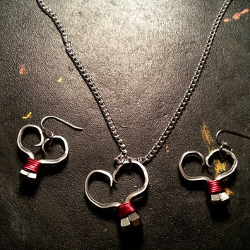 Red wire wrapped horseshoe nail heart necklace, earrings, or necklace and earrings set jewelry