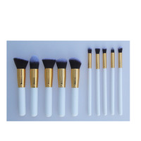 10x Kabuki Style Synthetic Hair White Blusher Makeup Cosmetic Brushes Tools Set
