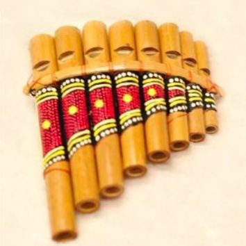 Hand Made Pan Flute 8 Note Curved Wooden Wind Instrument - Indonesia