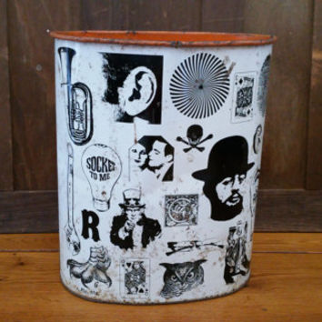 Vintage Metal Pop Art Trash Can Waste Basket