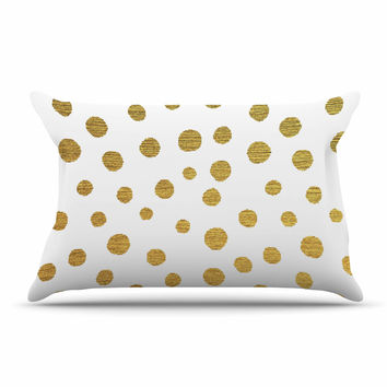 "Nika Martinez ""Golden Dots"" White Yellow Pillow Sham"
