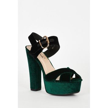 Green And Black Velvet Block Heel Platform Sandals