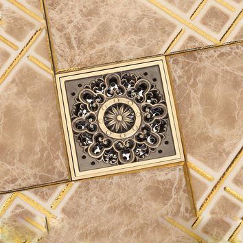 """Free Shipping Antique Brass 4"""" Square Floor Drain Cover Decorative Floor Waste Grate Drainer"""