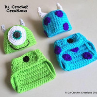 Crochet Mike and Sulley Inspired Monster Inc. Outfit - Photo Prop - Hat - Diaper Cover - Made with an Adjustable Waist - Twins - Halloween
