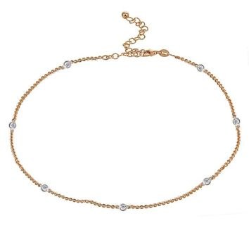 Dainty CZ Station Chain Choker Necklace in Rose Gold Plated Sterling Silver