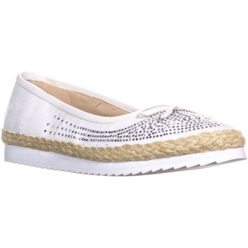 Callisto Pringle Espadrille Bow Tie Flats, White, 9 US